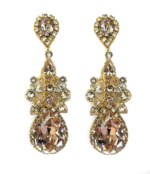 Haute Bride-Statement Teardrop Chandelier Earrings