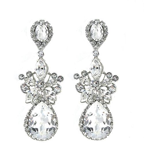 Haute Bride-Gold Blush Statement Teardrop Chandelier Earrings