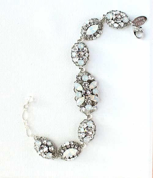 Haute Bride-White Opal Swarovski Brooch Bracelet