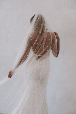 Made With Love Bridal Gown Back with Veil